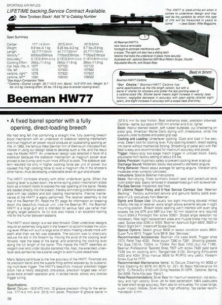 HW77K .20 (5mm) BPAG Edition 16 1990 1991
