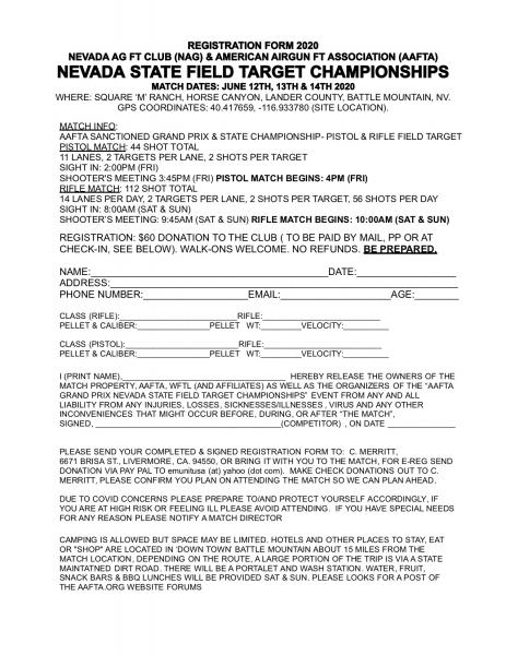 NEVADA 2020 REG FORM